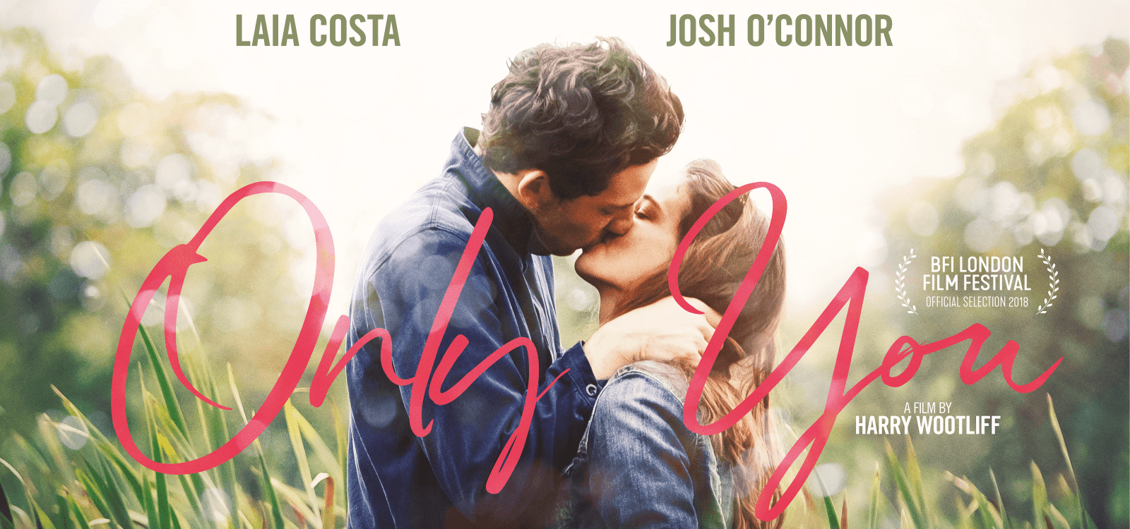 Laia Costa and Josh O'Connor embrace on the poster design for the film Only You